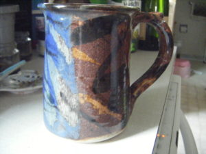 blue brown marbled cup